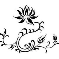 简洁精致的莲花藤蔓纹身手稿图