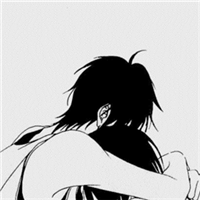 黑色卡通男生qq头像 灰色空间情侣