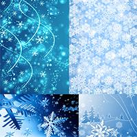 一组浅蓝色淡雅雪花花纹网页背景图片