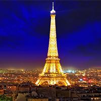 巴黎埃菲尔铁塔城市建筑夜景图片