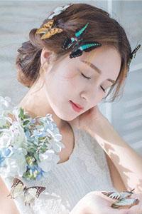 短发新娘鲜花发型