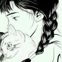 萌妹子黑白卡通孤独图片侧面女生