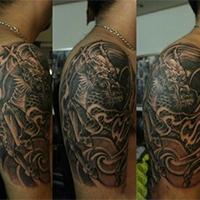 手臂非主流纹身图片精选麒麟图案