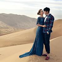 最美明星婚纱照沙漠外景拍摄