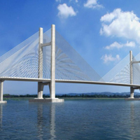 唯美蓝天雄跨两岸的桥图片