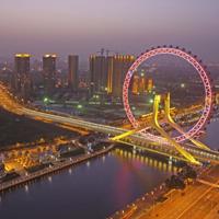唯美城市繁华夜景桥图片