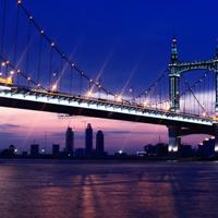 灯火阑珊大桥夜景图片