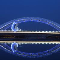 流光溢彩桥唯美倒影图片