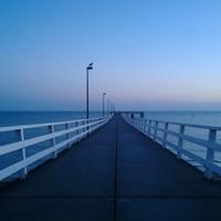 海边冷色系列清晨唯美桥图片