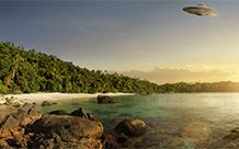 空中不明飞碟3d科幻壁纸图片