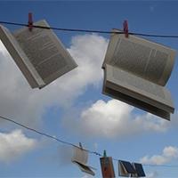 蓝天白云意境书本图片素材