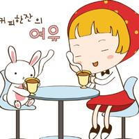 女孩和兔子韩国可爱卡通图片
