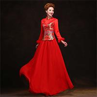 喜庆红色婚纱礼服旗袍图片