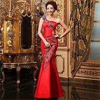 新娘红色旗袍礼服婚纱图