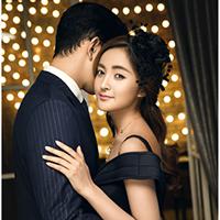 唯美爱情欧式黑色婚纱礼服照