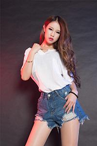 丽柜写真 性感美女语寒包臀牛仔裤高跟长腿喷血诱惑照