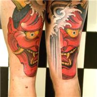 腿部一幅创意般若纹身欣赏