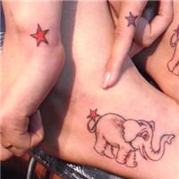 脚部小象五角星情侣纹身图案